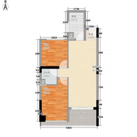 香醍25度2室1厅1卫1厨60.00㎡户型图