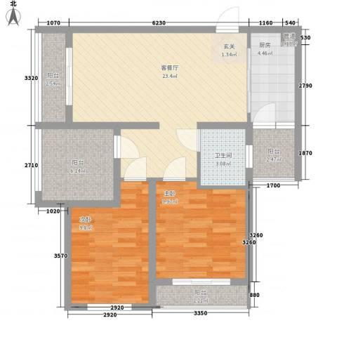 大兴伊比亚河畔IV・海逸广场2室1厅1卫1厨64.19㎡户型图