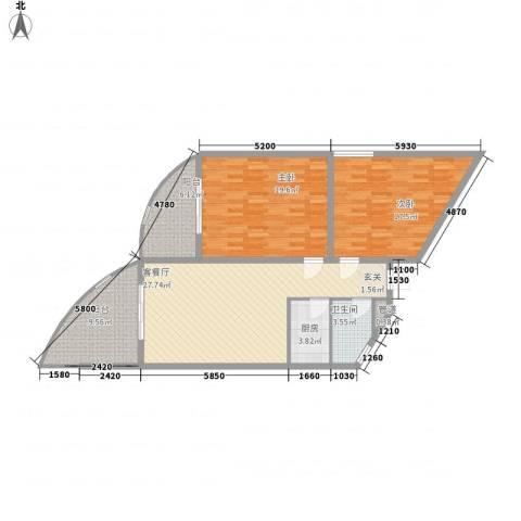 晋唐海湾2室1厅1卫1厨88.28㎡户型图