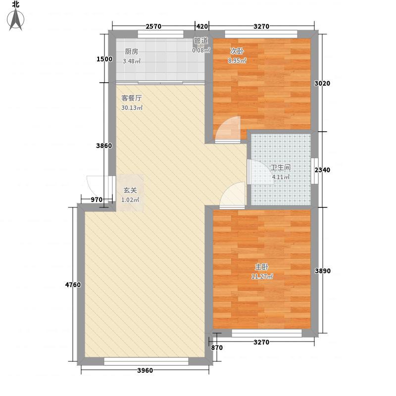 金汇豪庭2室1厅1卫1厨82.00㎡户型图