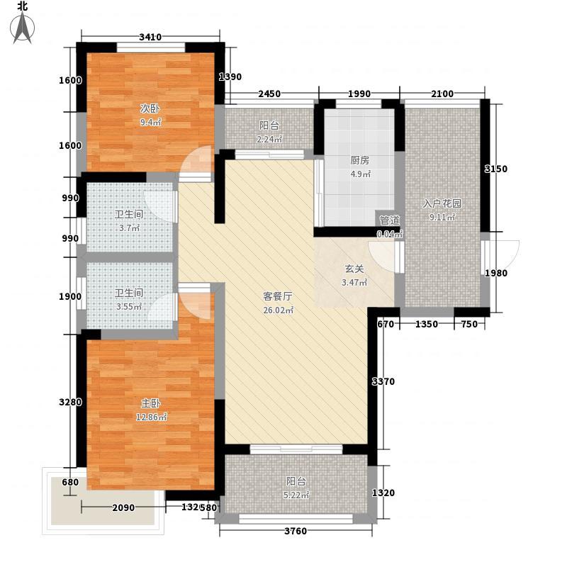 高速・滨湖时代广场2室1厅2卫1厨113.00㎡户型图