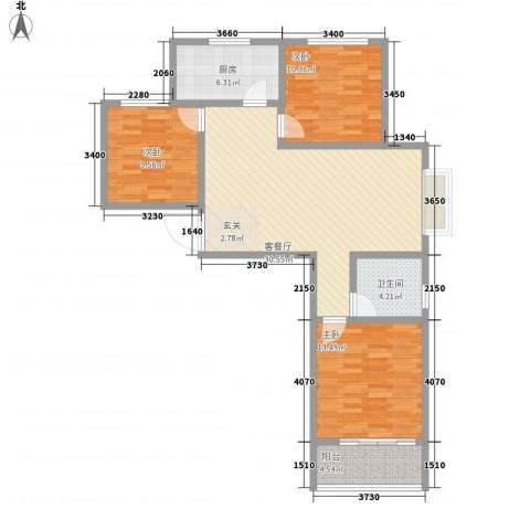 新富专家公寓3室1厅1卫1厨113.00㎡户型图