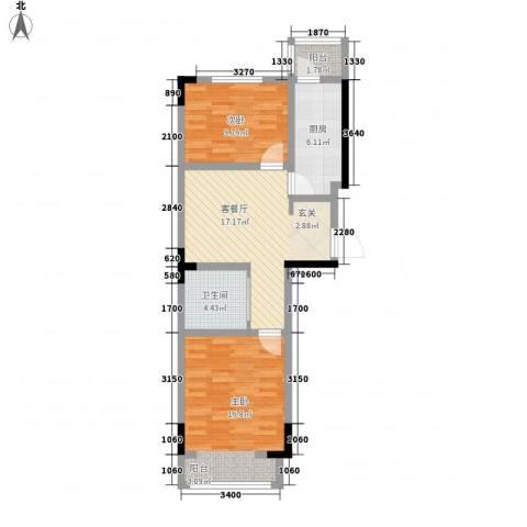 阳光嘉年华2室1厅1卫1厨75.00㎡户型图