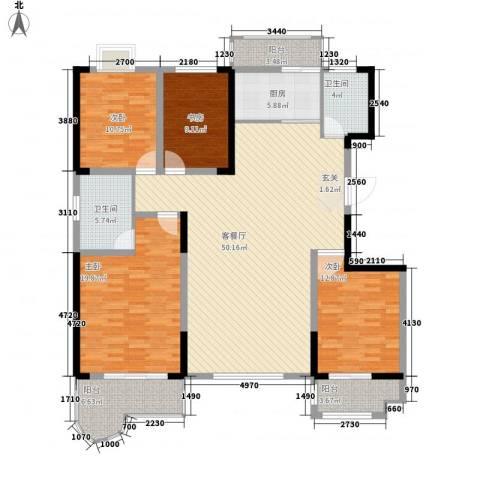 虞河花园4室1厅2卫1厨186.00㎡户型图