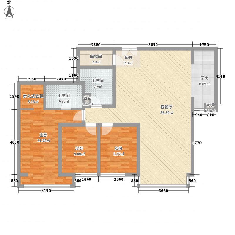 远洋天地118。35平米户型3室2厅2卫1厨
