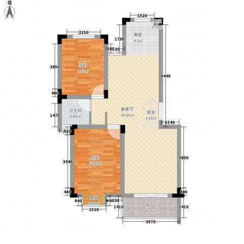 四季新城北苑2室1厅1卫0厨91.00㎡户型图