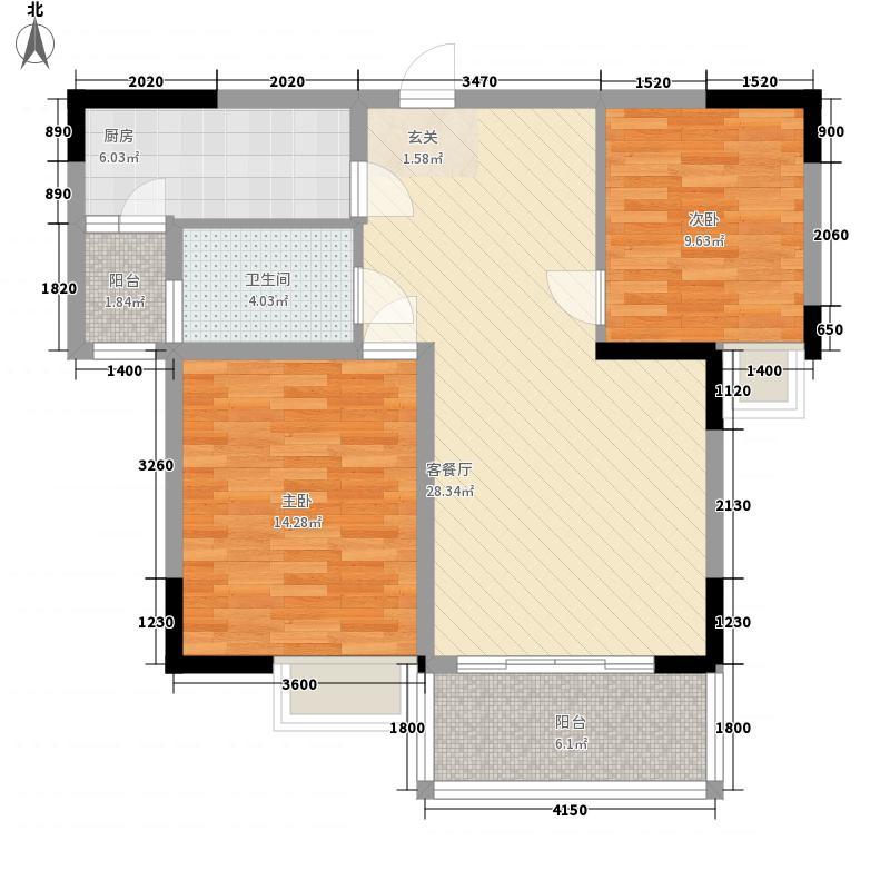 豪家名苑1.52㎡一期1/5栋1/2/3座标准层02户型2室2厅2卫