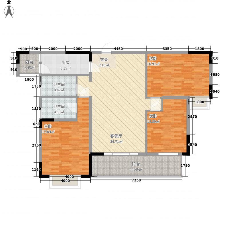豪家名苑134.00㎡一期3栋2座标准层02户型3室2厅2卫