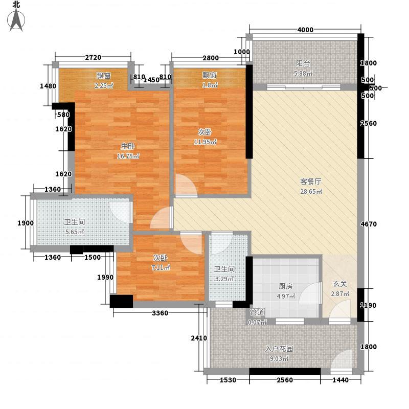 民众科尔玛新城81.00㎡3栋03/04单元户型3室2厅2卫1厨