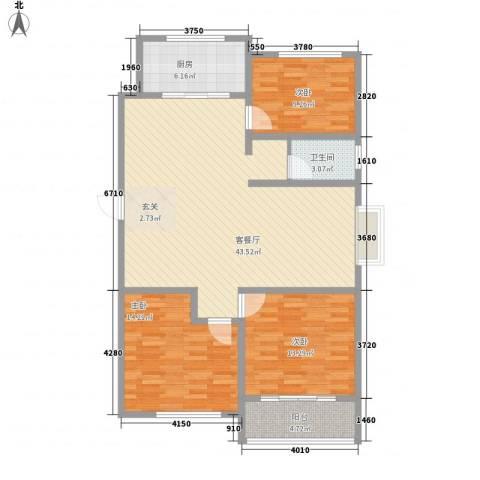 新富专家公寓3室1厅1卫1厨132.00㎡户型图