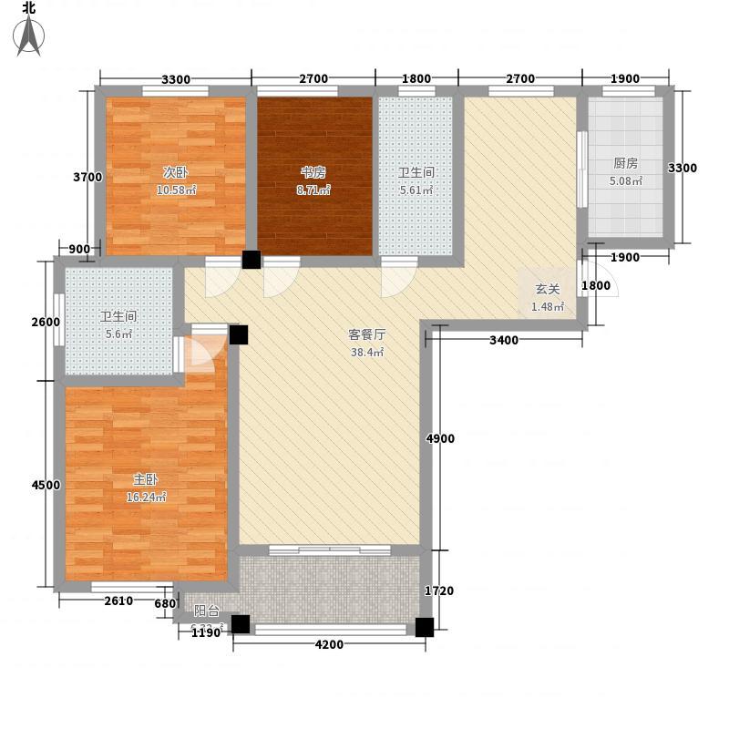 奉林雅居2户型3室2厅2卫1厨