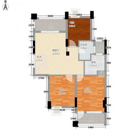 香榭花都(金永昌家园)3室1厅1卫1厨104.00㎡户型图