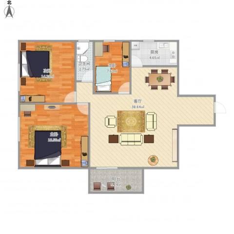 华丽花园3室1厅1卫1厨122.00㎡户型图