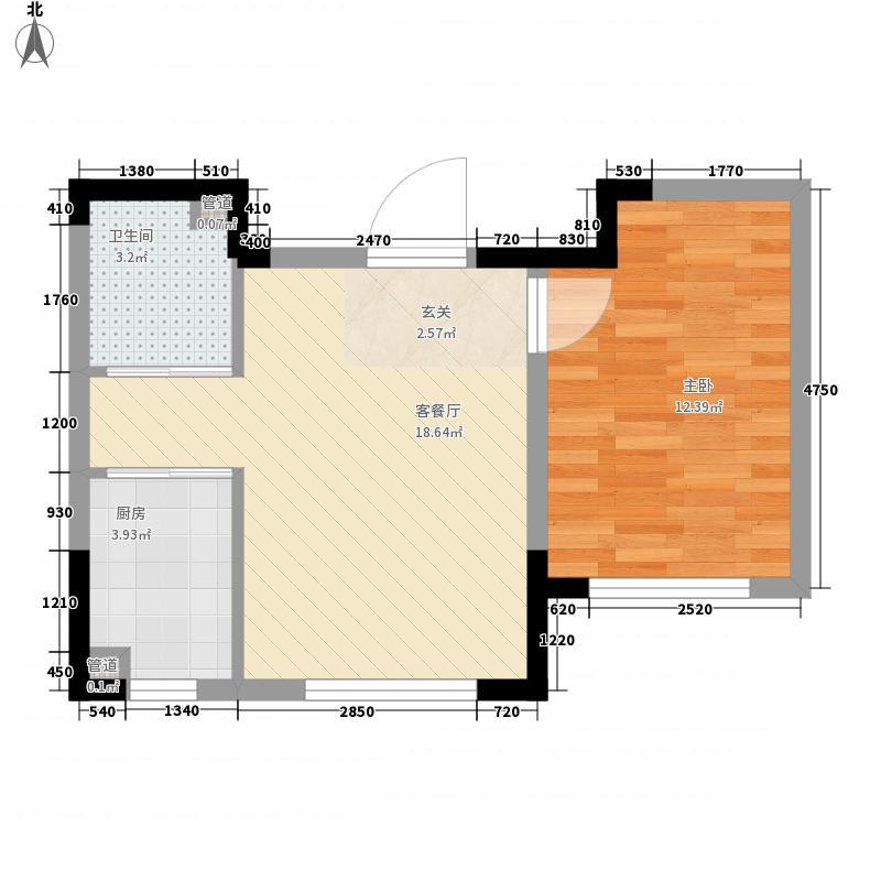 豪邦后现代橙1室1厅1卫1厨56.00㎡户型图