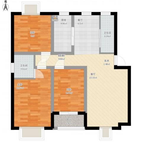 湖南化工医药设计院宿舍3室1厅2卫1厨104.00㎡户型图