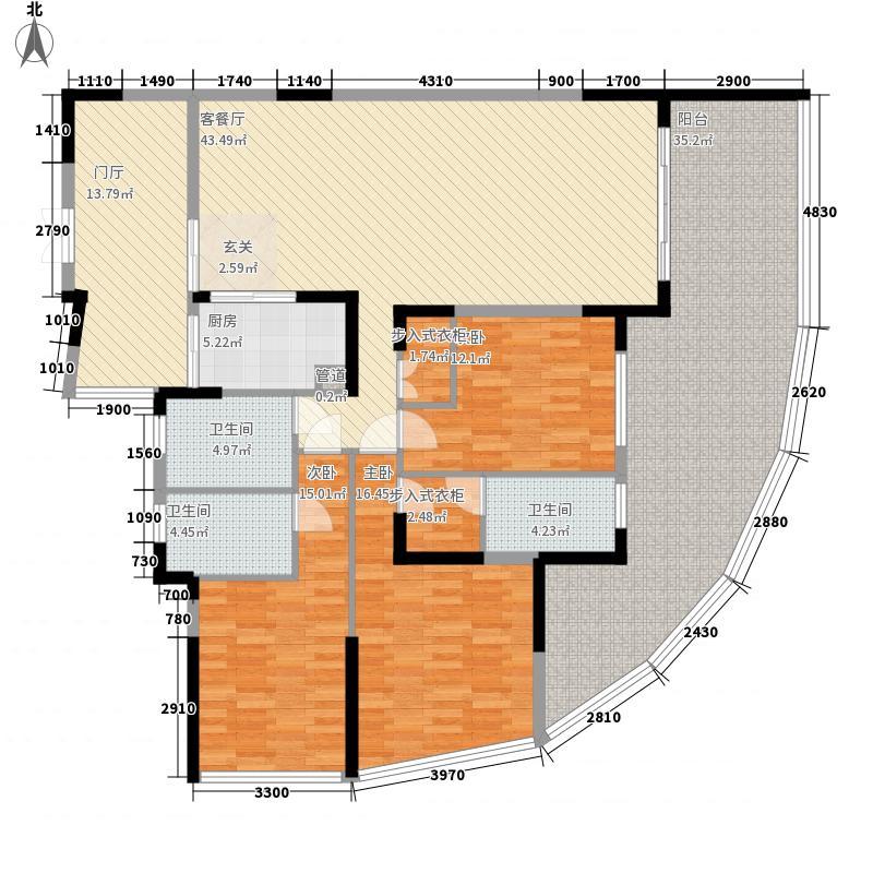 鸿洲游艇公馆24.10㎡C户型3室2厅3卫1厨