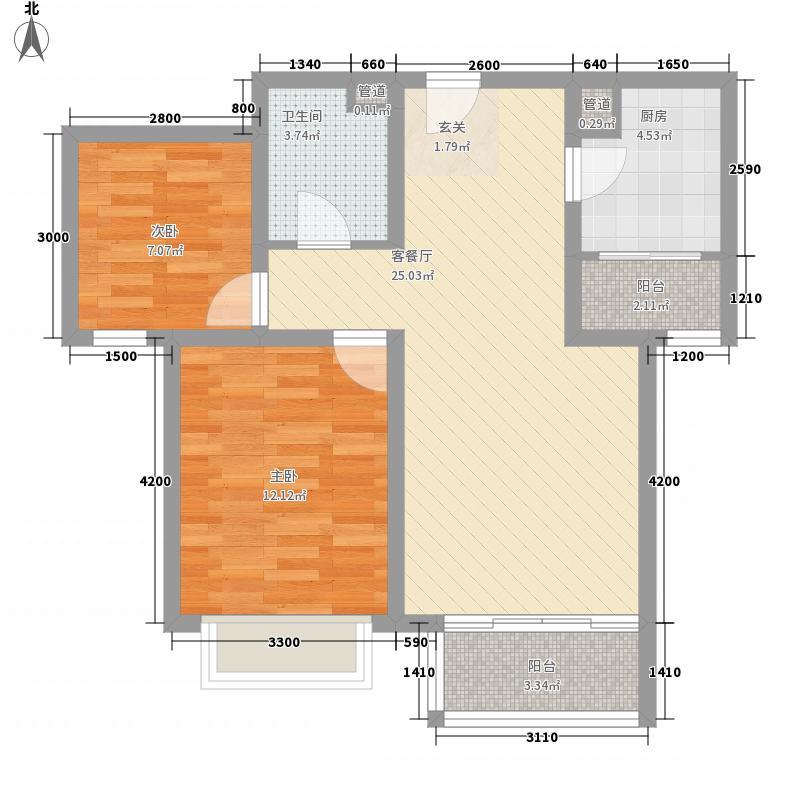 �园2室1厅1卫1厨85.00㎡户型图