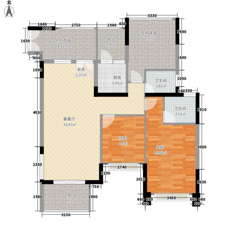 三远大爱城2室1厅2卫1厨114.00㎡户型图
