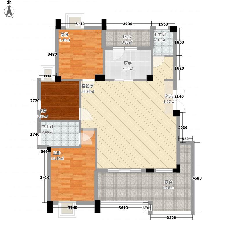 汇悦天地3室1厅2卫1厨132.00㎡户型图