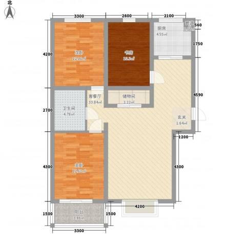 燕大星苑红树湾3室1厅1卫1厨127.00㎡户型图