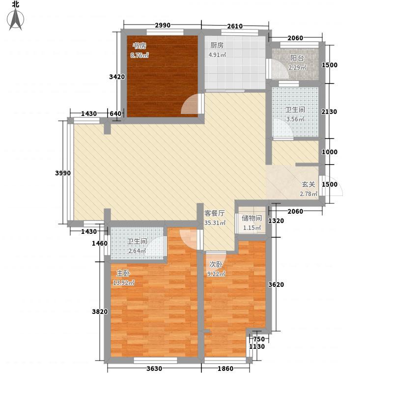 徐矿城118.80㎡高层A2户型3室2厅2卫