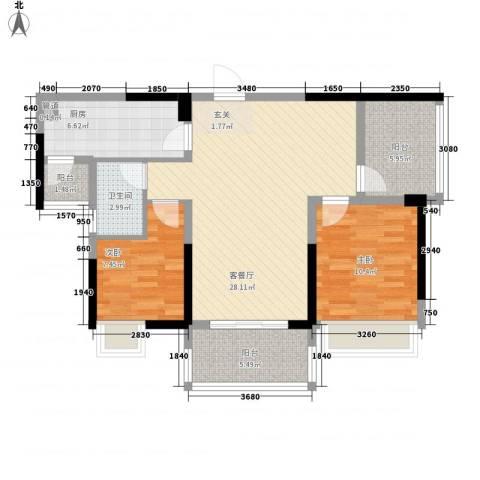 江湾公馆(一期)2室1厅1卫1厨100.00㎡户型图