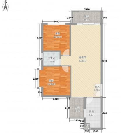 龙城国际2室1厅1卫1厨103.00㎡户型图