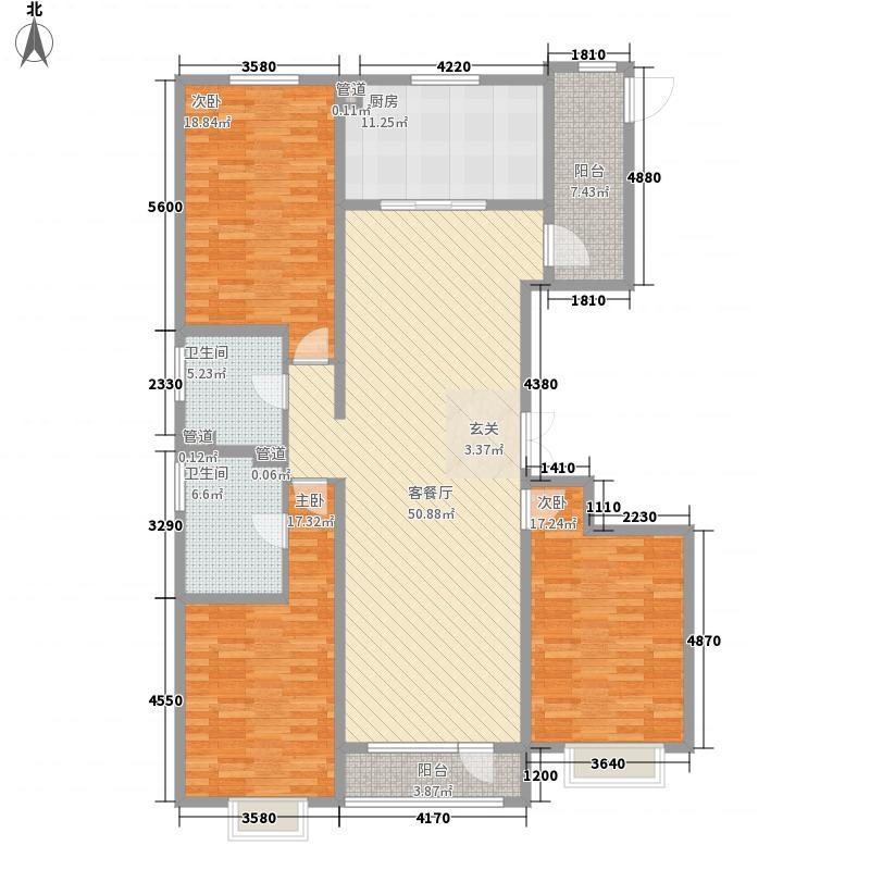 五龙湾・府东天地11.00㎡1A户型3室2厅2卫1厨
