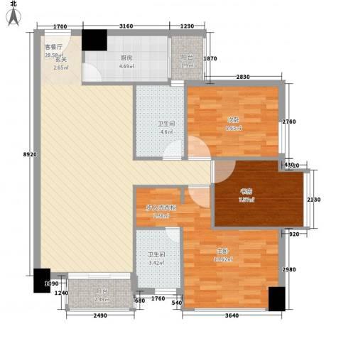 龙城国际3室1厅2卫1厨104.00㎡户型图