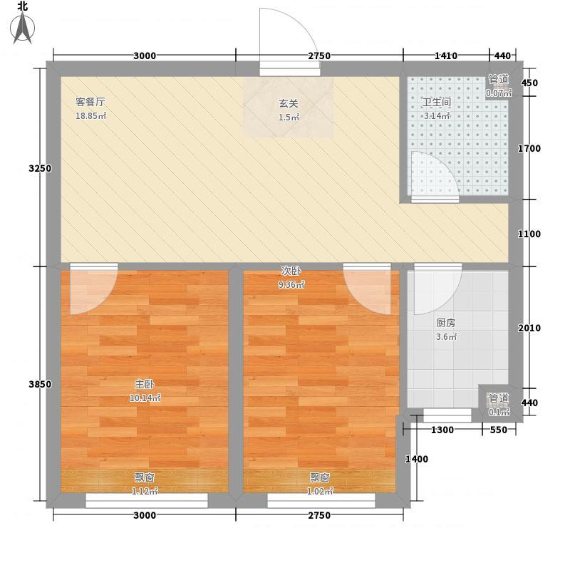 雷明锦程2室1厅1卫1厨65.00㎡户型图
