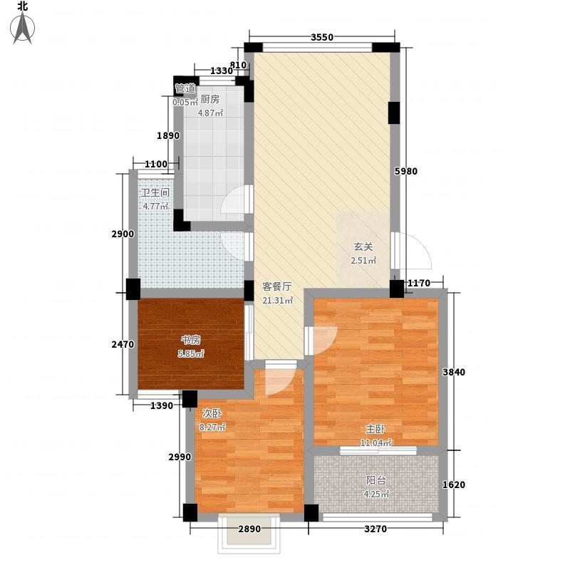 万成水韵江南3室1厅1卫1厨88.00㎡户型图