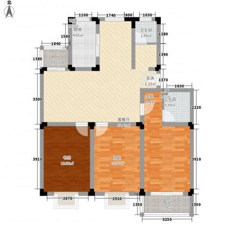 鸿运苑3室1厅2卫1厨128.00㎡户型图