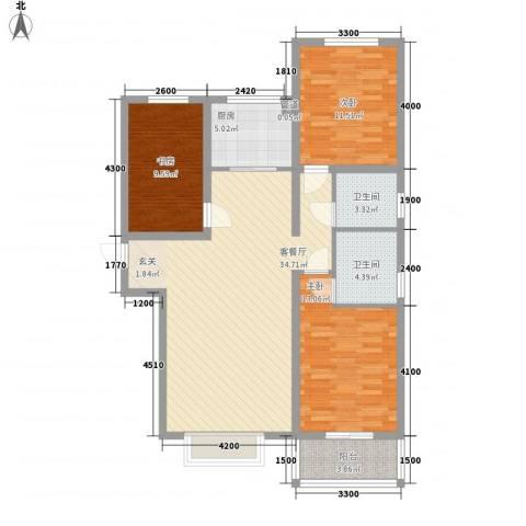 燕大星苑红树湾3室1厅2卫1厨126.00㎡户型图