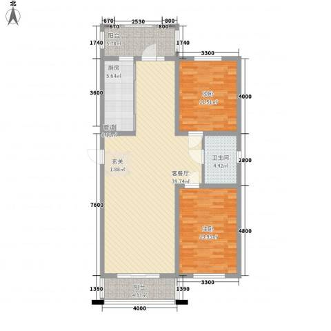 保利海棠花园2室1厅1卫1厨107.00㎡户型图