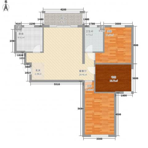 保利海棠花园3室1厅1卫1厨108.00㎡户型图