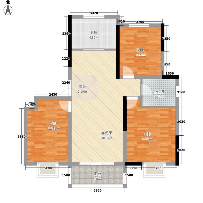 天澜湾1.70㎡湾尚34#A户型3室2厅1卫1厨
