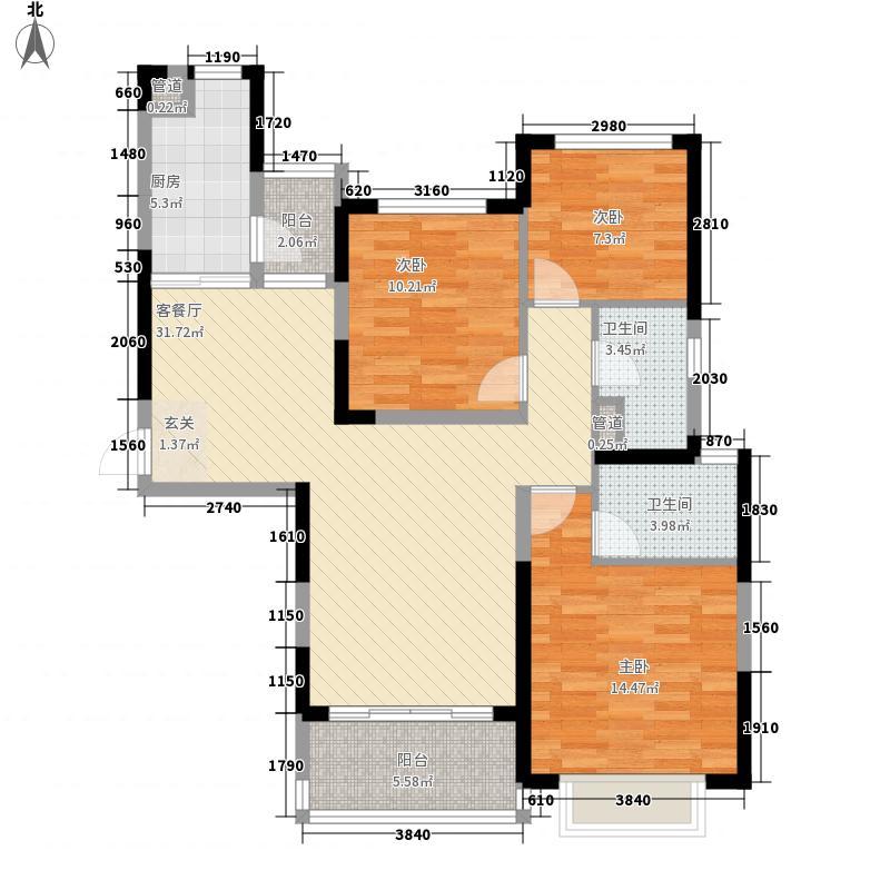 赣州・恒大名都122.17㎡1#3#4#5#楼中间B1户型3室2厅2卫1厨