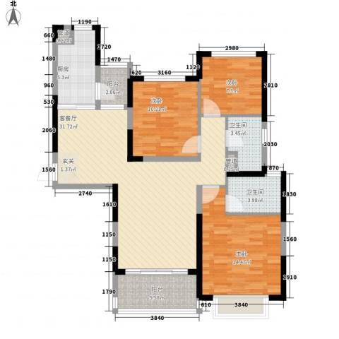 赣州・恒大名都3室1厅2卫1厨122.00㎡户型图