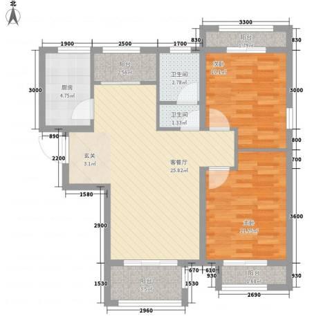 世纪御庭2室1厅2卫1厨96.00㎡户型图