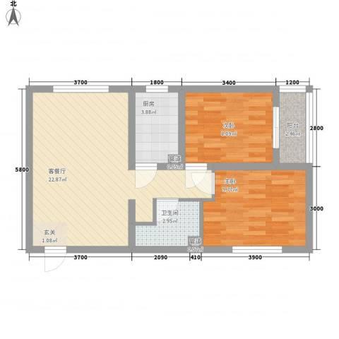 燕大星苑红树湾2室1厅1卫1厨76.00㎡户型图