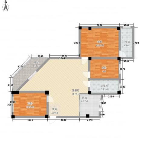 政荷苑3室1厅2卫1厨134.00㎡户型图