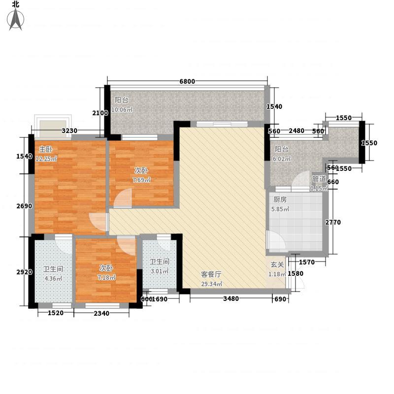 翠微福苑3室1厅2卫1厨87.00㎡户型图