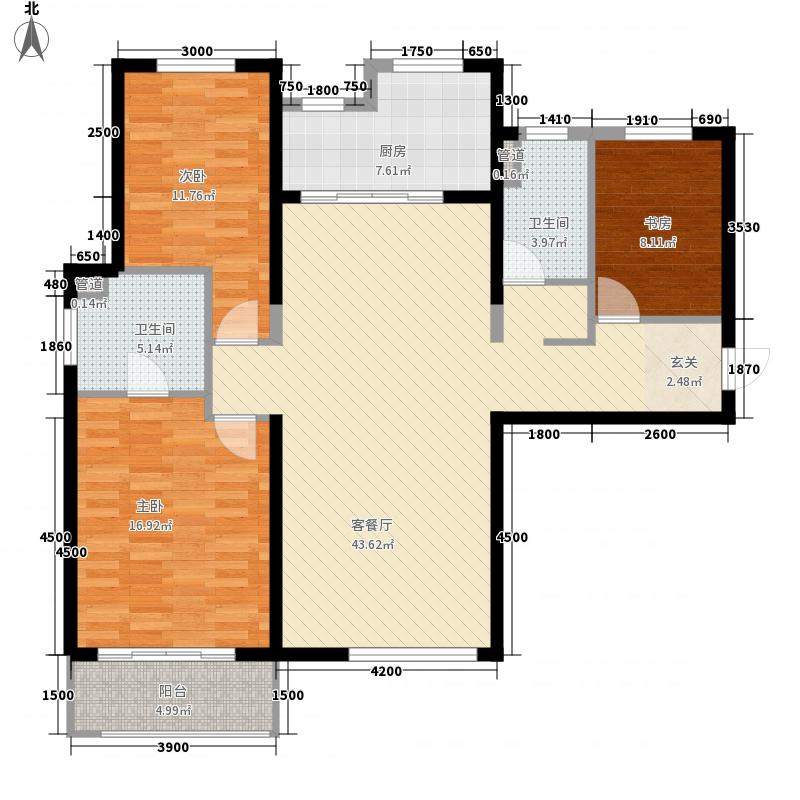 红星海世界观3室1厅2卫1厨102.42㎡户型图