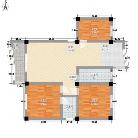 政荷苑3室1厅2卫0厨122.00㎡户型图