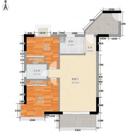 利海假日轩2室1厅1卫1厨73.00㎡户型图