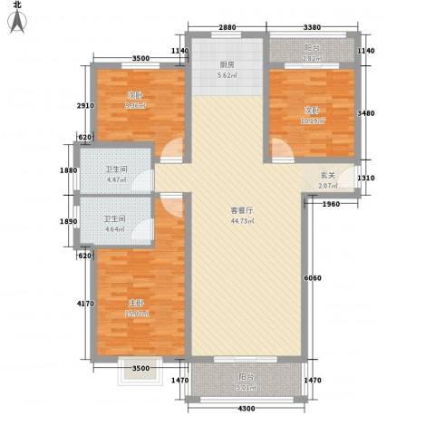 汇龙国际花园3室1厅2卫0厨137.00㎡户型图