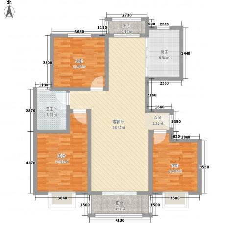 汇龙国际花园3室1厅1卫1厨94.73㎡户型图