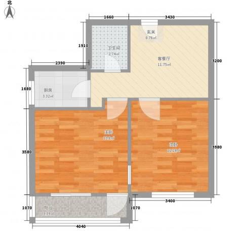 芳城园2室1厅1卫1厨67.00㎡户型图