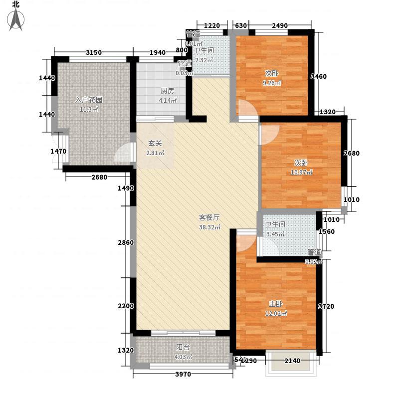 康桥金域上郡138.00㎡一期K5户型3室2厅2卫1厨