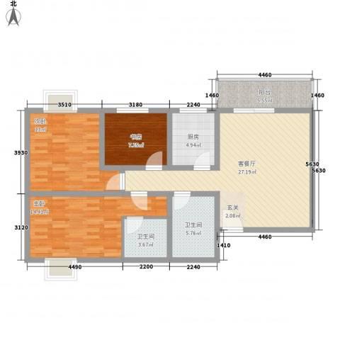 九月华城3室1厅2卫1厨118.00㎡户型图